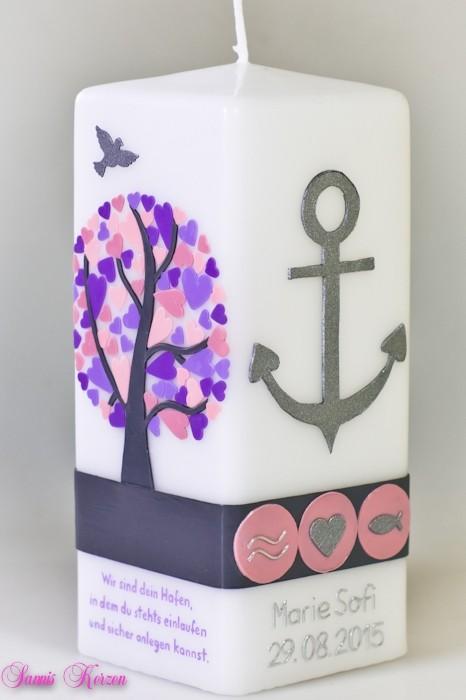 Taufkerze Herzbaum mit Anker und Spruch