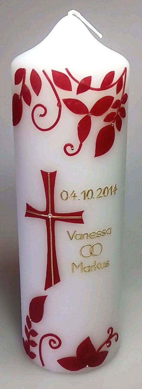 Taufkerze Blätterranken in der Farbe weiß  für nur  24,00€