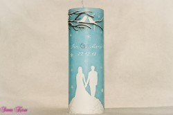 Hochzeitskerze winterfairytale mit Lovebirds
