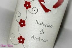 """Hochzeitskerze """"romantisch"""" oval abg. Perlmutt"""