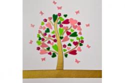 freie Farbwahl DIY Set Wachs-Herzbaum mit Blüten und Schmetterlingen