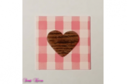 freie Farbwahl Wachs-Quadrat mit Herz rustikal kariert Holz