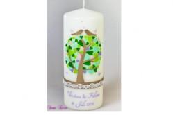 Hochzeitskerze Herzbaum mit zarter Spitze