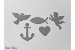 """freie Farbwahl """"Symbole""""-Set Taube Fisch Engel Herz Anker"""