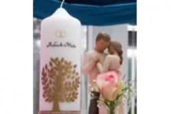 Hochzeitskerze Herzbaum mit Spitze