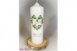 Hochzeitskerze Vintage Blütenherz mit Monogramm