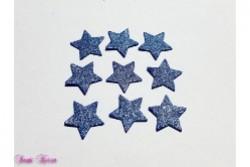 Wachs-Sterne dunkelblau-silber Glitter
