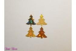 4 Wachs-Bäume mit Glitzer Sternen gold