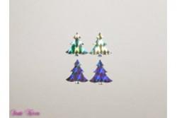 4 Wachs-Bäume silber glitzernd Metallic