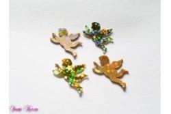 4 Wachs-Engel mit Glitzer Sternen gold