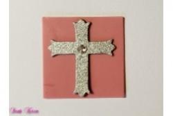 freie Farbwahl Wachs-Quadrat mit Kreuz und Strassstein